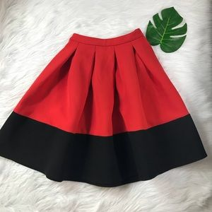 ASOS RED FULL CIRCLE SKIRT SZ 0